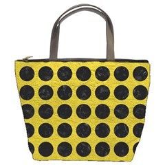 Circles1 Black Marble & Yellow Leather Bucket Bags