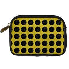 Circles1 Black Marble & Yellow Leather Digital Camera Cases