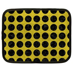 Circles1 Black Marble & Yellow Leather Netbook Case (xxl)