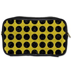 Circles1 Black Marble & Yellow Leather Toiletries Bags