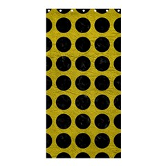 Circles1 Black Marble & Yellow Leather Shower Curtain 36  X 72  (stall)