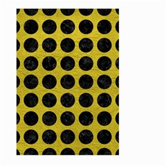 Circles1 Black Marble & Yellow Leather Large Garden Flag (two Sides)