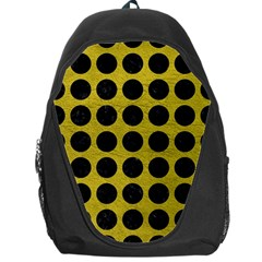 Circles1 Black Marble & Yellow Leather Backpack Bag