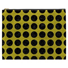 Circles1 Black Marble & Yellow Leather Cosmetic Bag (xxxl)