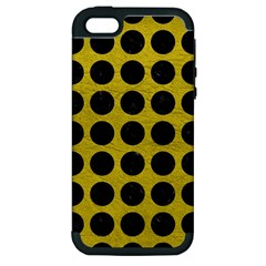 Circles1 Black Marble & Yellow Leather Apple Iphone 5 Hardshell Case (pc+silicone)