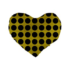 Circles1 Black Marble & Yellow Leather Standard 16  Premium Heart Shape Cushions