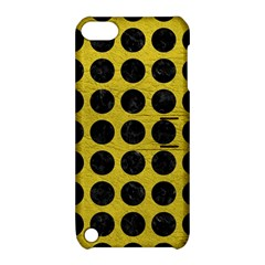 Circles1 Black Marble & Yellow Leather Apple Ipod Touch 5 Hardshell Case With Stand