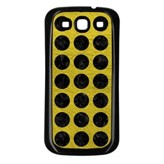 Circles1 Black Marble & Yellow Leather Samsung Galaxy S3 Back Case (black)