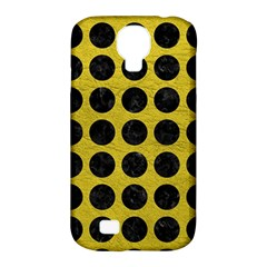 Circles1 Black Marble & Yellow Leather Samsung Galaxy S4 Classic Hardshell Case (pc+silicone)