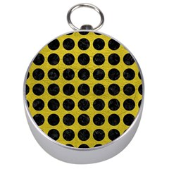 Circles1 Black Marble & Yellow Leather Silver Compasses