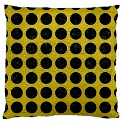 Circles1 Black Marble & Yellow Leather Large Flano Cushion Case (two Sides)