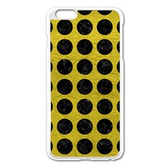 Circles1 Black Marble & Yellow Leather Apple Iphone 6 Plus/6s Plus Enamel White Case