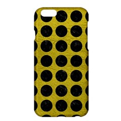 Circles1 Black Marble & Yellow Leather Apple Iphone 6 Plus/6s Plus Hardshell Case
