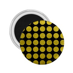 Circles1 Black Marble & Yellow Leather (r) 2 25  Magnets