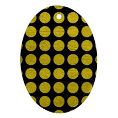 Circles1 Black Marble & Yellow Leather (r) Ornament (oval)