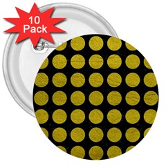 Circles1 Black Marble & Yellow Leather (r) 3  Buttons (10 Pack)