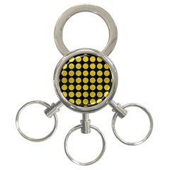 Circles1 Black Marble & Yellow Leather (r) 3 Ring Key Chains