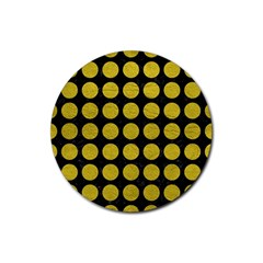 Circles1 Black Marble & Yellow Leather (r) Rubber Round Coaster (4 Pack)