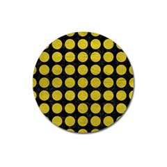 Circles1 Black Marble & Yellow Leather (r) Magnet 3  (round)