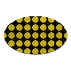 Circles1 Black Marble & Yellow Leather (r) Oval Magnet