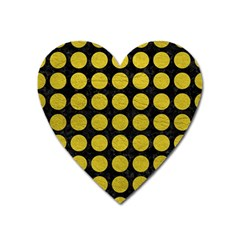 Circles1 Black Marble & Yellow Leather (r) Heart Magnet