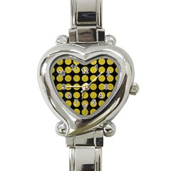 Circles1 Black Marble & Yellow Leather (r) Heart Italian Charm Watch