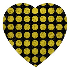 Circles1 Black Marble & Yellow Leather (r) Jigsaw Puzzle (heart)