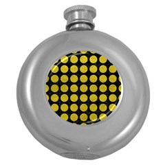 Circles1 Black Marble & Yellow Leather (r) Round Hip Flask (5 Oz)