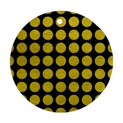 Circles1 Black Marble & Yellow Leather (r) Round Ornament (two Sides)