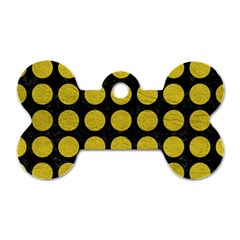 Circles1 Black Marble & Yellow Leather (r) Dog Tag Bone (one Side)