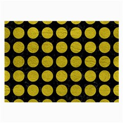 Circles1 Black Marble & Yellow Leather (r) Large Glasses Cloth (2 Side)