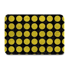 Circles1 Black Marble & Yellow Leather (r) Plate Mats