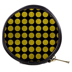Circles1 Black Marble & Yellow Leather (r) Mini Makeup Bags