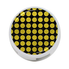 Circles1 Black Marble & Yellow Leather (r) 4 Port Usb Hub (two Sides)