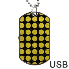 Circles1 Black Marble & Yellow Leather (r) Dog Tag Usb Flash (one Side)
