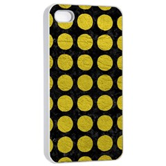 Circles1 Black Marble & Yellow Leather (r) Apple Iphone 4/4s Seamless Case (white)