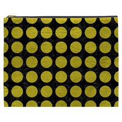 Circles1 Black Marble & Yellow Leather (r) Cosmetic Bag (xxxl)