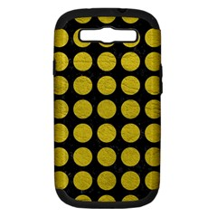 Circles1 Black Marble & Yellow Leather (r) Samsung Galaxy S Iii Hardshell Case (pc+silicone)