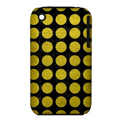Circles1 Black Marble & Yellow Leather (r) Iphone 3s/3gs