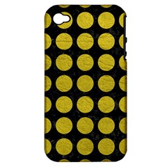 Circles1 Black Marble & Yellow Leather (r) Apple Iphone 4/4s Hardshell Case (pc+silicone)