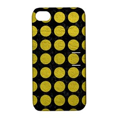 Circles1 Black Marble & Yellow Leather (r) Apple Iphone 4/4s Hardshell Case With Stand