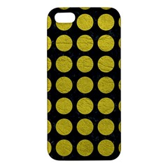 Circles1 Black Marble & Yellow Leather (r) Apple Iphone 5 Premium Hardshell Case