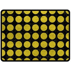 Circles1 Black Marble & Yellow Leather (r) Double Sided Fleece Blanket (large)