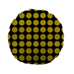 Circles1 Black Marble & Yellow Leather (r) Standard 15  Premium Flano Round Cushions