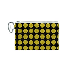 Circles1 Black Marble & Yellow Leather (r) Canvas Cosmetic Bag (s)