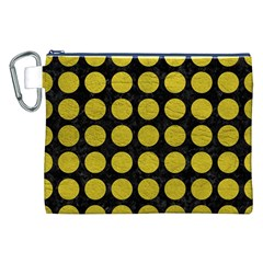Circles1 Black Marble & Yellow Leather (r) Canvas Cosmetic Bag (xxl)