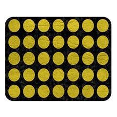 Circles1 Black Marble & Yellow Leather (r) Double Sided Flano Blanket (large)