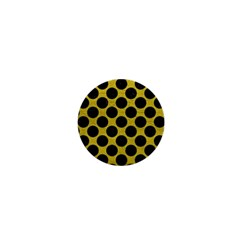 Circles2 Black Marble & Yellow Leather 1  Mini Buttons