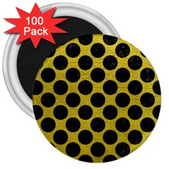 Circles2 Black Marble & Yellow Leather 3  Magnets (100 Pack)
