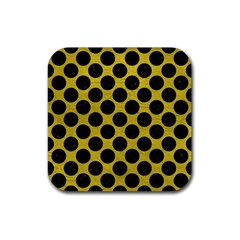 Circles2 Black Marble & Yellow Leather Rubber Square Coaster (4 Pack)